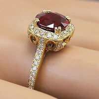 14k Yellow Gold Round Cut Ruby And Diamond Antique Design Halo Deco Ring 2.95ctw