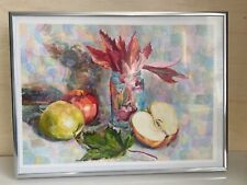 Watercolor still life fruits and leafs original drawing