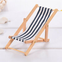 1:12 Foldable Dollhouse Miniature Fairy Garden Blue&White Stripe Deck Chair