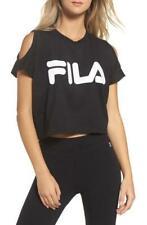 Fila Women's Nikki Crop Cold Shoulder Top, Black, Size Small