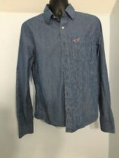 Hollister Mens Large Blue/White Strip Long Sleeve Button Up Oxford Shirt Pockets