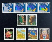 Canadian Stamps, Scott #890-899 17c set 1981 VF/XF M/NH. Fresh