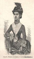 """""""Karu-ko,Kaiserin von Japan, in europäischer Tracht"""" Original Holzstich von 1889"""