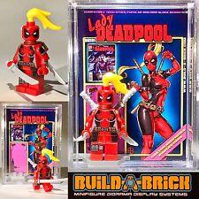 Lady Deadpool custom MINIFIGURE w/ Display Case & lego stand 339