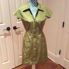 AUTH PRADA DRESS, GREEN SILK, SHORT SLEEVE/KNEE LENGHT 40IT/ S USA/Made in Italy
