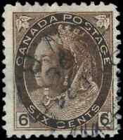 Canada #80 used F-VF 1898 Queen Victoria 6c brown Numeral CDS CV$55.00