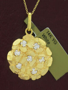 WHITE SAPPHIRES ROUND NUGGET PENDANT NECKLACE 14k GOLD * New With Tag *
