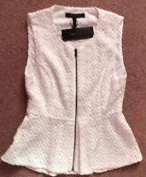 BCBG Maxazria White Embroidered Floral Zip Sleeveless Vest Top XXS NWT