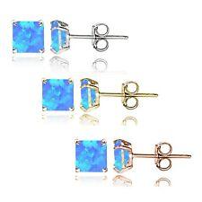 Sterlingsilber Dreifarbig Künstlicher Blauer Opal 4mm Quadrat Ohrringe 3er Set