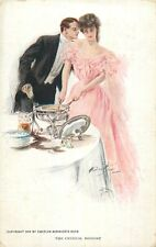 "Harrison Fisher artist signed postcard romantic couple "" The Critical Moment """