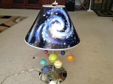 Vintage solar system planets on a Acrylic Revolving Disk Table Lamp
