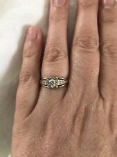 14k White Gold Diamond Engagement Ring. Solitaire. Vintage Look. Rare. Unique.