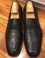 $790 Ferragamo Men's SZ 9D Black Pebbled Leather Penny Loafers