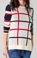 CAMILLA and MARC- 'Tiny Dancer' As New -Check Stripe Cream Navy Red Jumper SMALL