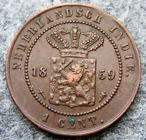 NETHERLANDS EAST INDIES - INDONESIA WILLEM III 1859 1 CENT, HIGH GRADE