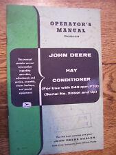Vintage John Deere Operators Manual-Hay Conditioner - 540 Pto