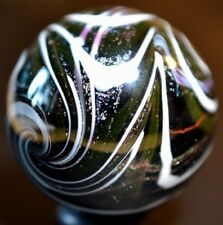 "HANDMADE GLASS MARBLE/1.346""DICHROIC PSYCHEDELIC w/WHITE WIG-WAGS-TURQ.,LIME,BLK"