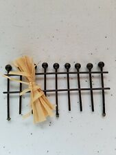 "Black Fence Decor Cornstalk Metal Miniature Display 3 1/2"" Wide Halloween Autumn"
