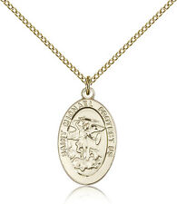 "Saint Michael The Archangel Medal For Women - Gold Filled Necklace On 18"" Cha..."