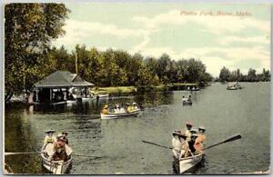 BOISE, Idaho Postcard PIERCE PARK Boating Scene Boat House Rowboats 1910 Cancel
