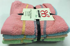 Set of 30 Assorted Terry Wash Cloths, Dobby Border, 100% Cotton