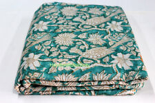 5 Yards Soft Cotton Indian Fabric Green And Block Printed Fabric Peacock BHFKD12