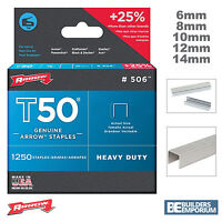 ARROW T50 STAPLES PACKS OF 1250 - 6, 8, 10, 12 & 14mm