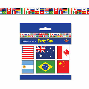 INTERNATIONAL FLAG PARTY TAPE DECORATIONS OLYMPIC GAMES WORLD EVENTS 6.1 METERS