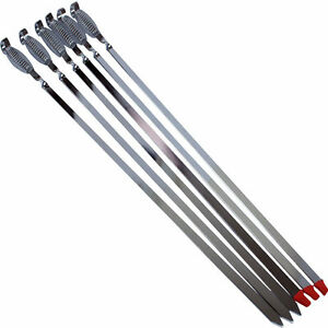 12pc Bbq Skewers Kebab Barbecue Chrome Reusable Spring Handle Fast Dispatch