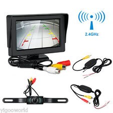 LCD Screen Car Rear View Backup Mirror Monitor+Wireless Reverse IR Camera Kit
