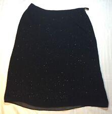 ANN TAYLOR Petites SZ 2P Skirt 100% Silk Black Beaded Knee Length A Line