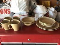 13 PC CANONSBURG POTTERY SANDSTONE  - MADE IN USA Vintage Plate Bowl Mug Set