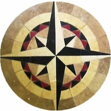 Floor Marble Round Mosaic Medallion Nautical Compass Rose Tile Mosaic 48 inches