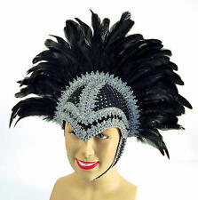 Black Braiding Feather Helmet Las Vegas Show Girl Drag Queen Carnival Fancy Dres