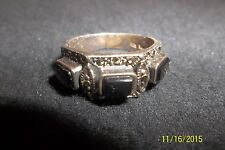Sterling Silver Black Onyx & Marcasite Ring Size 8 . 5 *