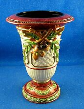 """Fitz & Floyd: """"Equestrian"""" Pattern 9.5"""" tall Footed Vase w/applied leaves (ISW)"""