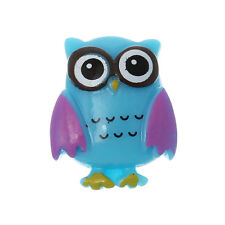 10 Resin OWL Charm Cabochons, BLUE, flat back cabochon,  findings cab0416