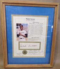 HANK AARON Autographed Picture, Wood Framed, Notarized '87 Atlanta Georgia Henry