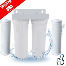 Dual Whole House Water Filter Purifier (With Filters) Carbon Block and Sediment
