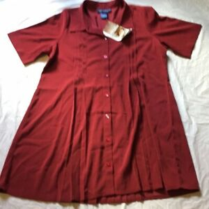 Womans Susan Graver Style Red Lagenlook Button Front Shirt Dress NWT
