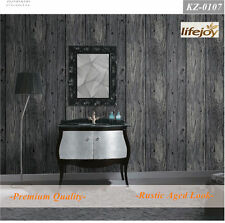 10m 3D Wood Timber Theme Wallpaper - 0107 Provincial Rustic Dark Grey Wood Panel
