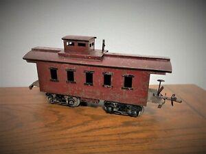 1920'S IVES RAILWAY LINES PREWAR - RED CABOOSE NO. 195 - STANDARD GAUGE