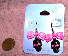 Black & hot pink skull dangle earrings NWT Claires goth glam skull earrings