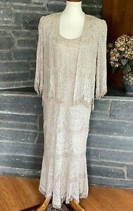 Lillie Rubin DAMIANOU Metallic Gold Lace Sleeveless Dress with Jacket S (FLAWS)