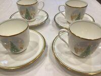 4  Mikasa Merry Christmas Set Fine Bone China Tea Cup & Saucer  Coffee