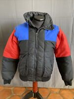 Vintage Mountain Goat Down Ski Coat Removable Sleeves Vest Puffer Color Block