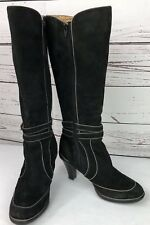 """SOFFT Tall Suede Leather Boots Women's 6M Black 3"""" Heel Inside Zip Ankle Buckle"""