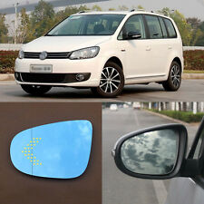 Rearview Mirror Blue Glasses LED Turn Signal with Power Heating For VW Touran