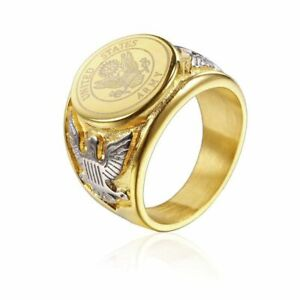 Marine Gold Ring Silver Stainless Steel Men Women US Military AirForce Navy Fire