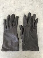 Vintage Dark Brown Leather Womens Driving Gloves Mittens Size 6.5
